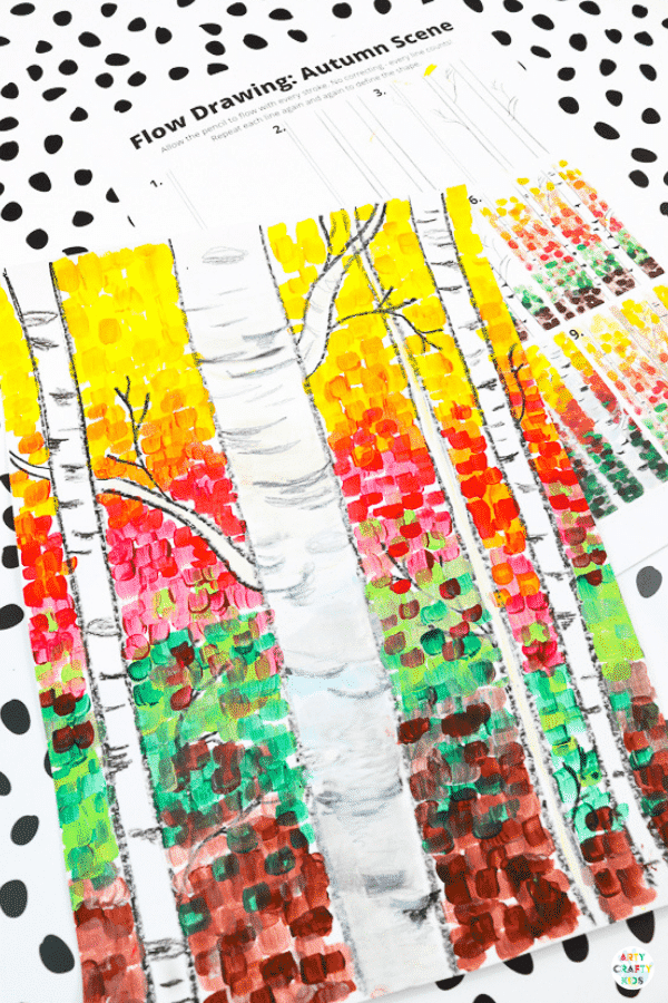 Our Autumn birch tree painting will help children to explore color, texture and contrast, encourage them to observe the details to be found in nature and inspire their creativity.  A fun Autumn paint along for kids, that can be completed with how to draw guides and a pre-drawn birch tree template.