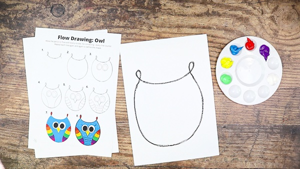 Join the squiggle ends to create an owl shape.