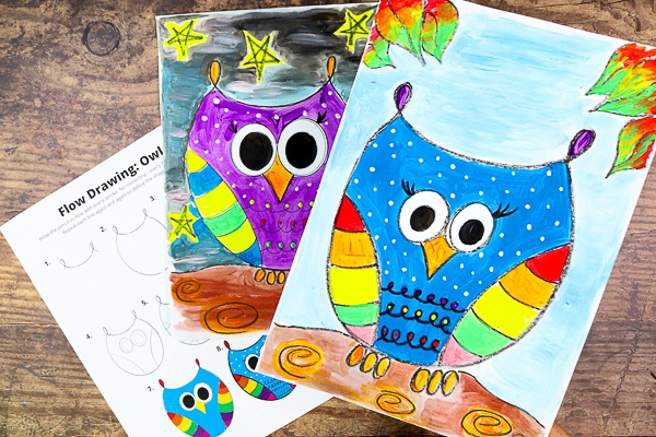 How to Draw an Owl: A fun and engaging drawing and paint along to try with your children this Autumn.