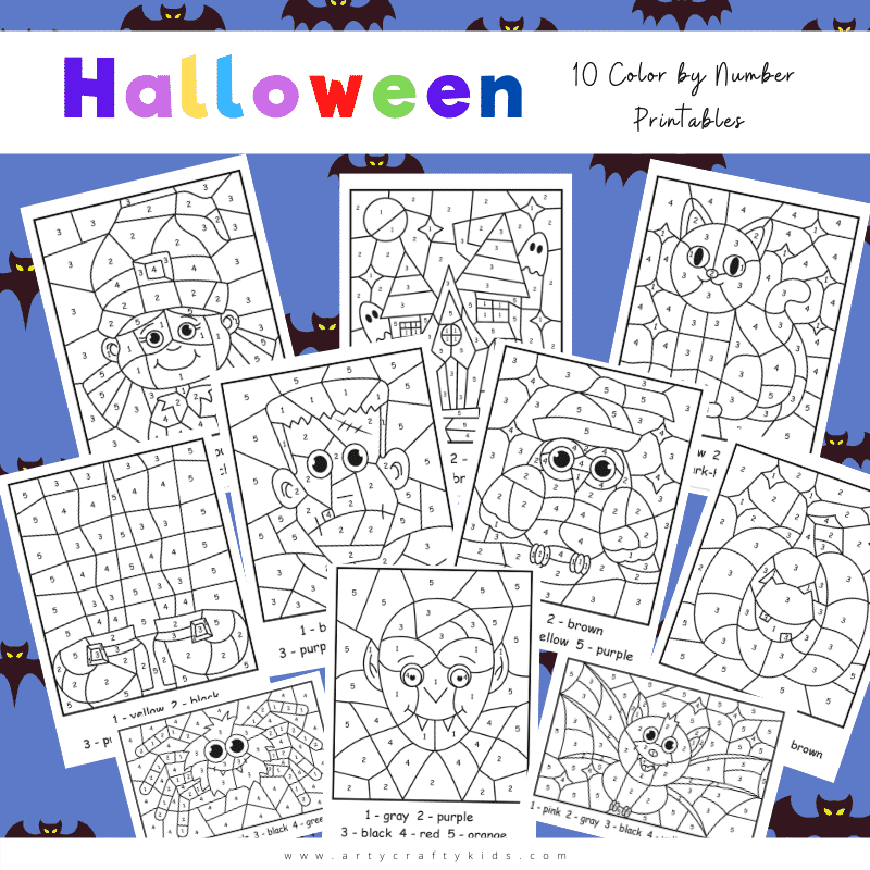 Our Halloween Color By Number Worksheets combine art and learning, using pictures of all our fangtastic favourites - a vampire, witch, cat, spider, bat, haunted house, pumpkin, Frankenstein's' monster and hooting owl.