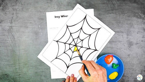 Decorate the printable spider web.