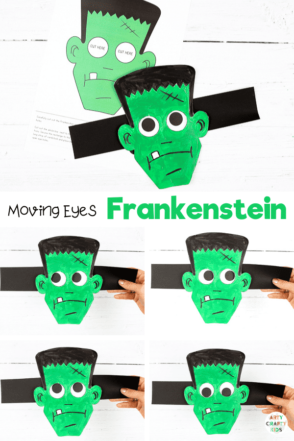 Moving Eyes Frankenstein Craft - A fun and interactive Halloween craft for kids.   hildren can practice their fine motor skills with cutting and sticking, and use their imaginations to explore color and texture with paints. And as the finished craft is so tactile and interactive, kids will have a great time playing with their creation afterwards, too.
