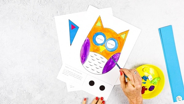 Decorate the Moving Eyes Owl Template.