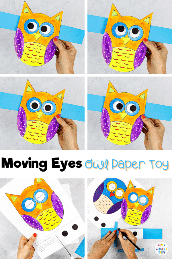 Craft meets play with this adorable Moving Eyes Owl Craft for kids. A lovely Autumn craft where Children can practice their fine motor skills with cutting and sticking, and use their imaginations to explore color and texture with paints. And as the finished craft is so tactile and interactive, kids will have a great time playing with their creation afterwards, too.
