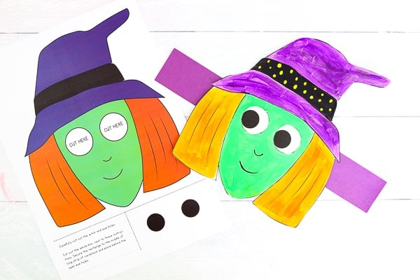 The Moving Eyes Witch Craft templates are available in full color and black and white for children to decorate themselves.