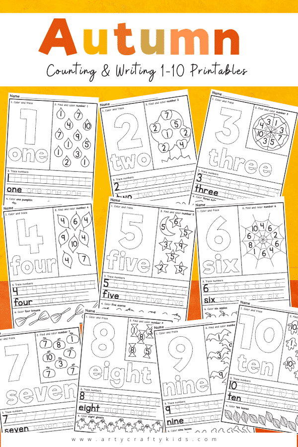 Fun and engaging Autumn themed Counting and Number Tracing Worksheets for preschoolers:   Our bold and easy to use templates help children to build confidence in their numbers in fun and different ways. Younger children can use them for number recognition and shape formation, and older ones can practice writing and problem solving skills. They can be used on their own, or combined to create basic math puzzles, and children of all ages will love coloring them in, too.