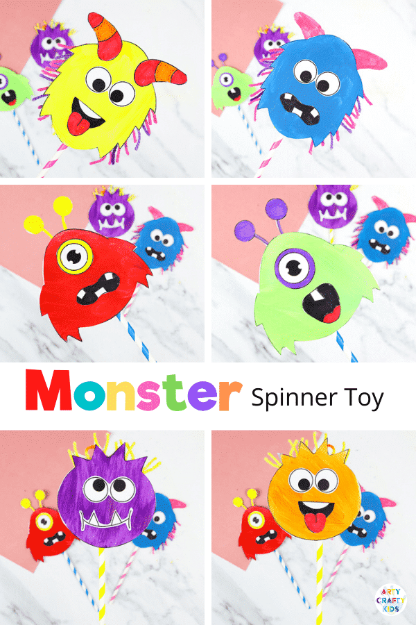 Printable Monster Spinner Craft: Now it's time to play. A fun, friendly and engaging Halloween craft kids will love.