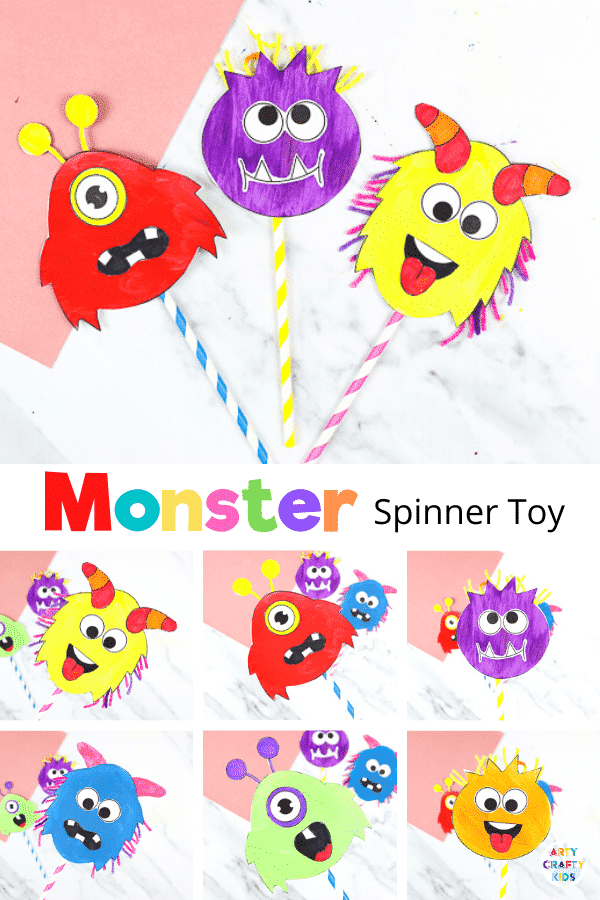 Printable Monster Spinner Craft - A fun and engaging Halloween craft for kids.   Children will have a great time using their imaginations to create funny, silly monster faces and, once they've crafted their spinners, there's hours of fun to be had.