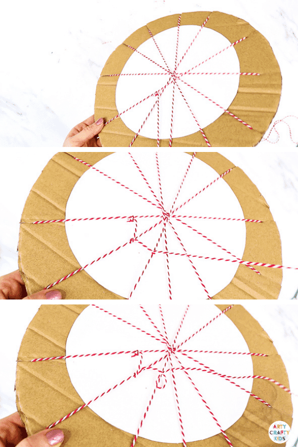 Weave a piece of string in and out in a circular formation to create a spider web effect.