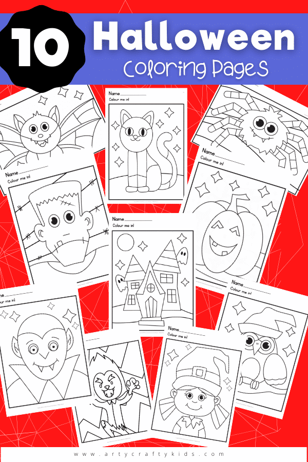 0 Halloween coloring pages for kids. Choose from a not so spooky witch or werewolf to a happy vampire and spider! There's something for everyone in this friendly Halloween printable bundle of coloring pages.