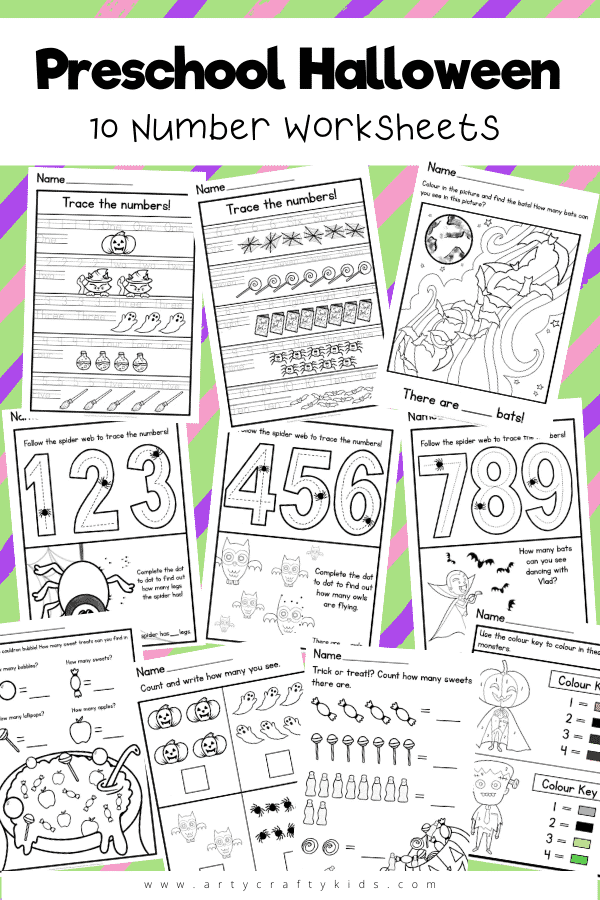 10 Preschool Halloween Number Worksheets: Children can use these independently to work on their shape formation as they trace the numbers; and practice counting as they explore all of the fun tricks, and treats, on the sheets. There's lots of coloring and dot to dots to encourage their creativity and problem-solving skills too.
