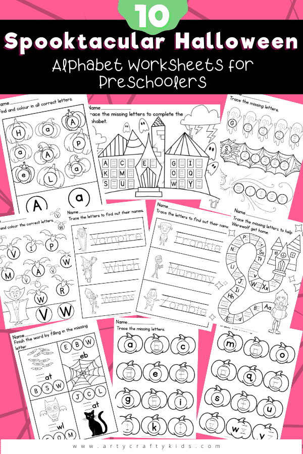 10 Spooktacular Alphabet Worksheets for Preschoolers: These fun and engaging alphabet worksheets are designed to help reinforce letter recognition and shape formation, build confidence and introduce basic spelling.