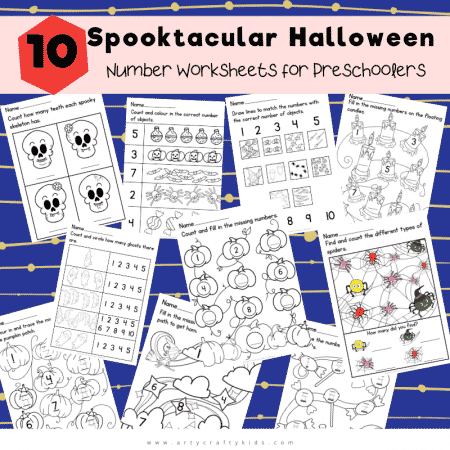The 10 different worksheets help kids to count and generally to become more comfortable with numbers, so when it's time to move on to sums or bigger numbers, they don't feel scared or overwhelmed.