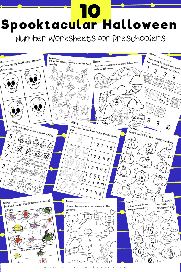 10 Spooktacular Number Worksheets for Preschoolers: The 10 different worksheets help kids to count and generally to become more comfortable with numbers, so when it's time to move on to sums or bigger numbers, they don't feel scared or overwhelmed.