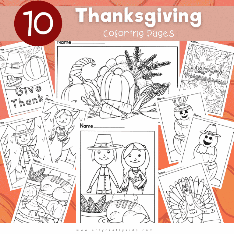 10 beautifully designed Thanksgiving Coloring Pages for Kids; Perfect for brightening up a classroom display, encouraging children to give thanks, supporting a thanksgiving history project.