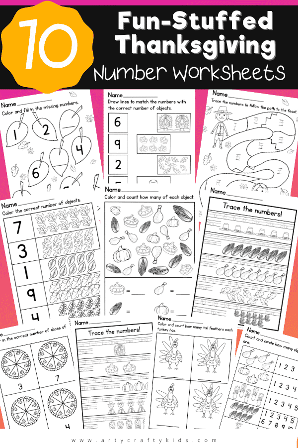 10 Fun-Stuffed Thanksgiving Number Worksheets: You'll have no problems encouraging children to practice their numbers with our festively fun worksheets!