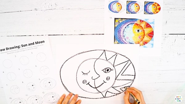 Add detail within the oval. Draw painted rays for the sunny side and curves for the moon.