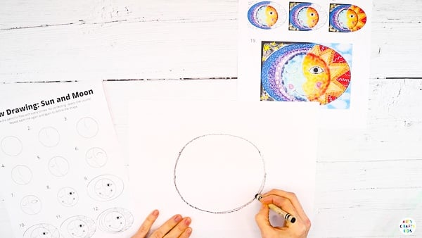 Start with a central circle in the middle of the page.