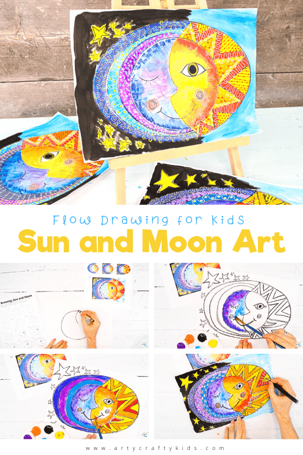 Sun and Moon Art: Kids and beginners will learn how to create beautiful Sun and Moon Art with our easy 'how to draw' technique, flow drawing. Kids are encouraged to use simple lines and shapes to form their sun and moon, composing a beautiful piece of sun and moon art that's really easy to create.