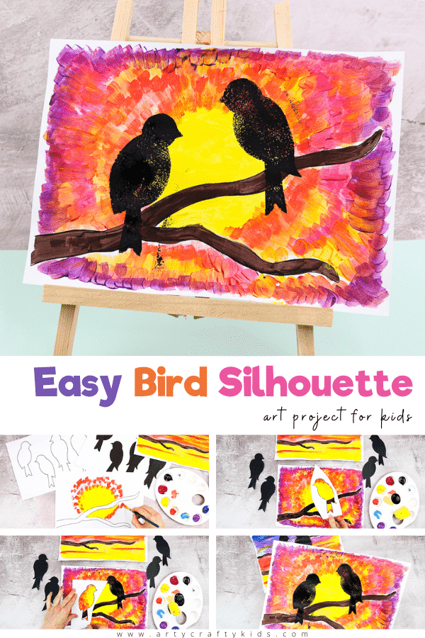 Explore natures daily wonder with this beautiful and easy bird silhouette art project for kids - Children are encouraged to pay attention to how the sunset's colors change, and to play with the paint as they blend the colors together and create depth and pattern in the sky.