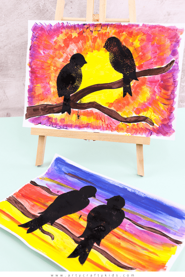 Explore natures daily wonder with this beautiful and easy bird silhouette art project for kid - Children are encouraged to pay attention to how the sunset's colors change, and to play with the paint as they blend the colors together and create depth and pattern in the sky.