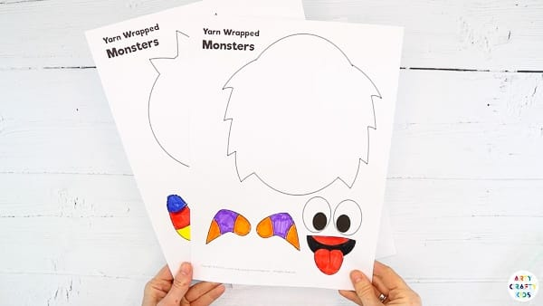 Download the yarn wrapped monster craft templates from the Arty Crafty Kids members area.