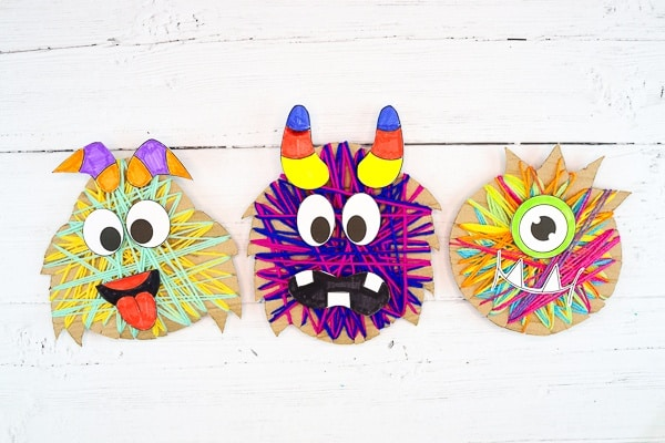Yarn Wrapped Monster Craft: Super simple, but super effective, this interactive and tactile craft incorporates coloring, cutting, threading and sticking, so is ideal for pre-schoolers and school early years.