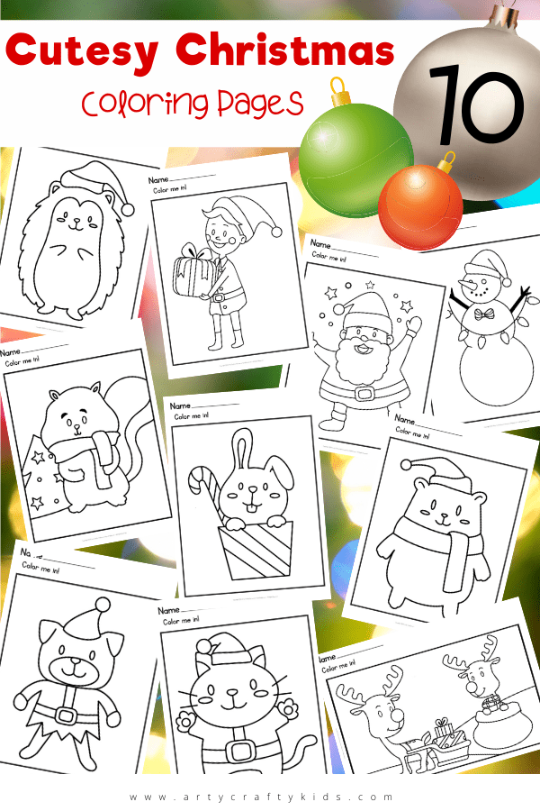 Free Christmas coloring pages for download! These cutesy Christmas coloring pages are perfect for pre-schoolers and early years; with their simple shapes and attractive features. Children can choose from a range of festive animals from cats to squirrels to hedgehogs, as well as the classics Santa, Rudolph or Snowman.