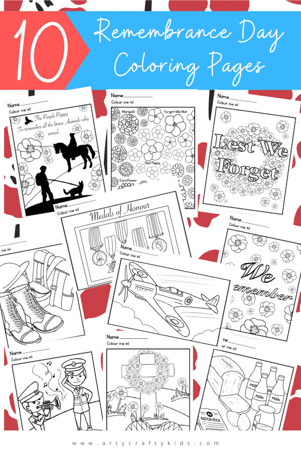 Use these bold, thoughtfully designed Remembrance Day Coloring Pages for Kids to celebrate remember those who sacrificed all.