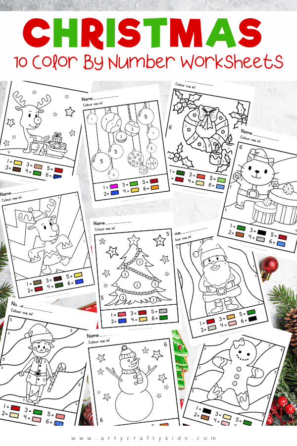 Printable Christmas Color by Number Bundle - Children will love this gorgeous collection of color by number worksheets, featuring all their favorite Christmas characters and more!   erfect for a quiet-time activity at home, or a rainy lunchbreak at school, kids of all ages will love getting into the holiday spirit with these worksheets.