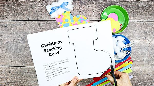 Let's Make a Christ Stocking Card - Start by cutting out the stocking template.