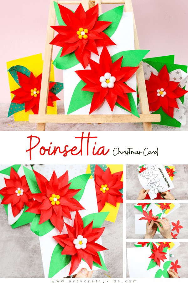 Easy Poinsettia Christmas Card: Simple, but really fun and engaging, kids will love building up the flowers and seeing them pop from the page.   Our poinsettia template makes the craft super easy - perfect for recreating at home or within the classroom.