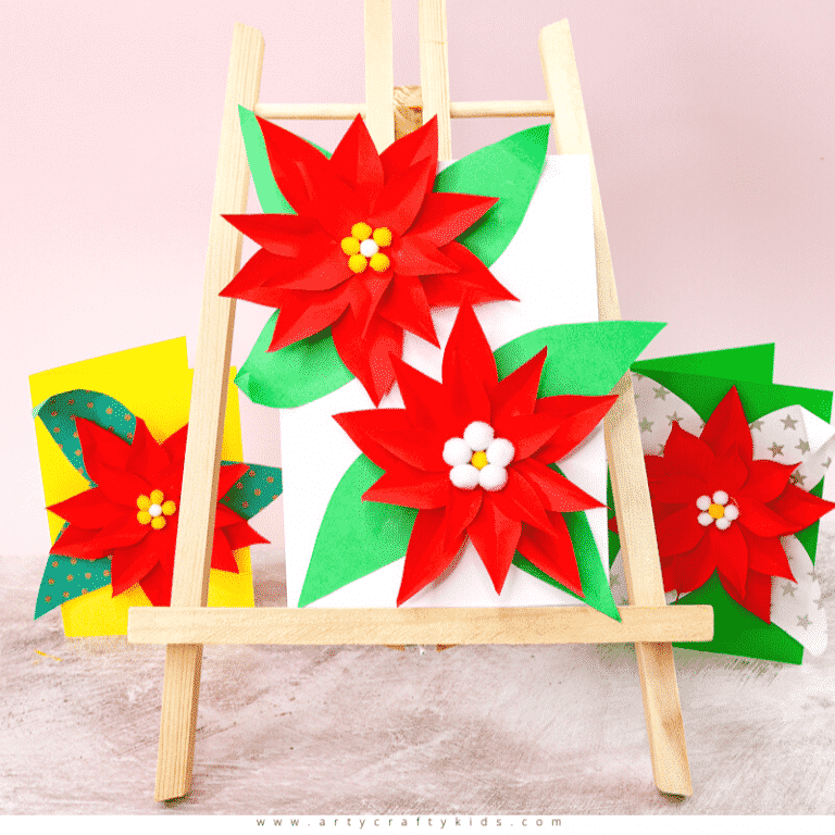 Easy Poinsettia Christmas Card for Kids | Arty Crafty Kids