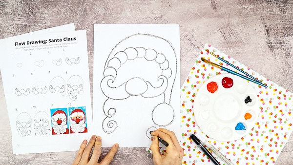 Let's draw Santa's beard by filling the bottom half of the page with a collection of swirls.