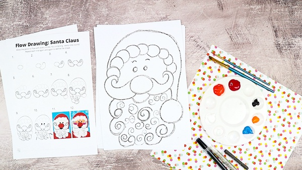 Complete the How to Draw Santa Claus by adding facial features - eyes, eyebrows and cheeks!
