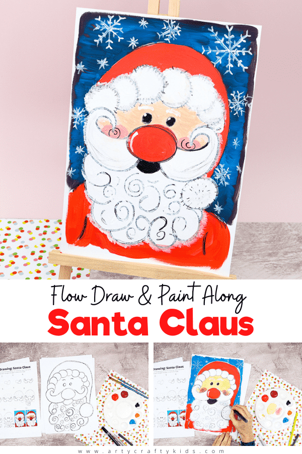 Flow Drawing: How to Paint Santa Claus - A fun and simple Christmas drawing tutorial for kids to follow.   Children will learn how to use natural flowing lines to form their favorite Christmas Character - Santa!  Optional printable downloads include a How to Draw Santa Tutorial and a completed Santa Clause template to simple paint.