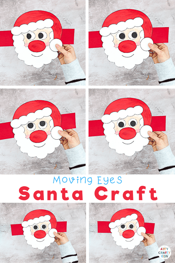 Moving Santa Craft for Kids: This easy Christmas craft is easy enough to be enjoyed independently, with only simple cutting and painting, and the interactive element brings an extra dimension of play, meaning it's ideal for pre-schoolers and school early years.