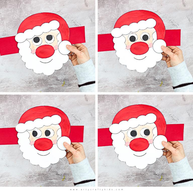 Moving Eyes Santa Craft for Kids to Make