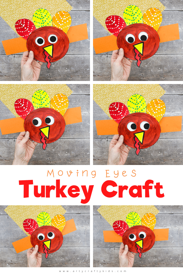 Get your Thanksgiving craft on with this adorable Moving Eyes Turkey Craft for kids!   Children can practice their fine motor skills with cutting and sticking, and use their imaginations to explore color and texture with paints. And as the finished craft is so tactile and interactive, kids will have a great time playing with their creation afterwards, too.