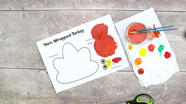 Download and paint the Yarn Wrapped Turkey Craft template.