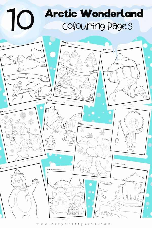 10 Arctic Wonderland Coloring Pages: If you're looking for a fun winter-themed activity, why not download our brrr-illiant Arctic wonderland coloring pages?  This fun collection of arctic animals - including fox, rabbit, penguin, polar bear, killer whale, sea lion and puffin - is a great way to introduce pre-schoolers and school early years children to this amazing snowy habitat.
