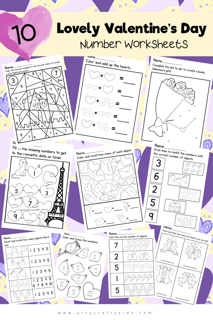 These 10 Lovely Valentine's Day Number Worksheets are a love-stuffed way of keeping children focussed during this cutesy season!