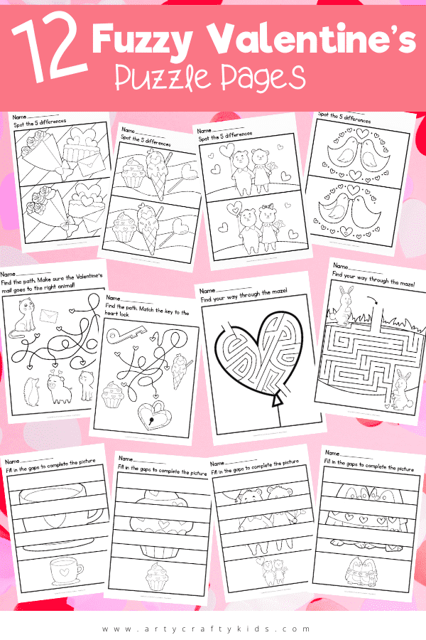 Download these 12 Fuzzy Valentine's Puzzle Pages for some cute, loved-up Valentine's Day! Featuring 4 different types of puzzle, these pages are challenging enough but also super cute!