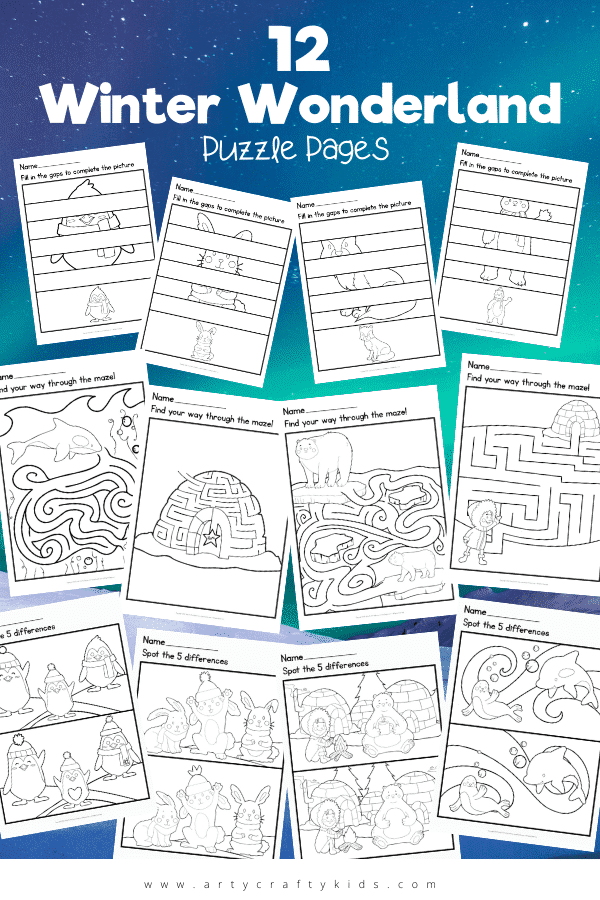 Our 12 Winter Wonderland Puzzle Pages are a fab way to keep children thinking during the chilly weather! Color them in once complete too!