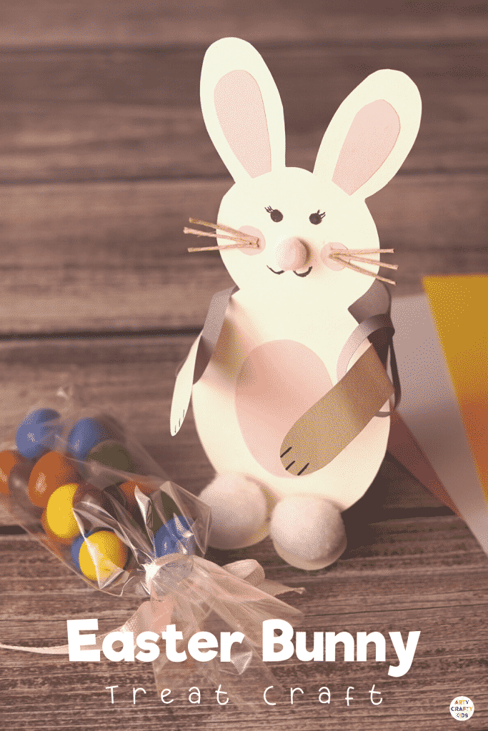 Easter Bunny Treat Craft: A cute and fun Easter craft for kids to make! Transform a paper roll into a cute back pack that delivers Easter treats. Can be made with or without our Easter Bunny template.