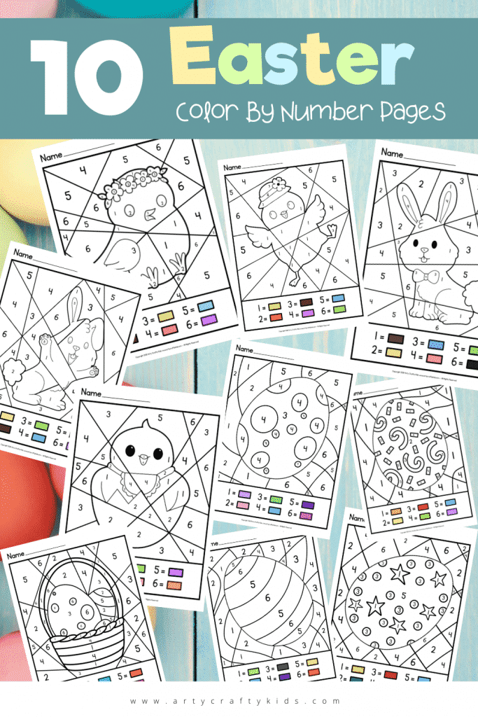 Our 10 Easter Color By Number Pages are full of patterned Easter Eggs, happy chicks and bunnies! Perfect for preschoolers over Easter break!