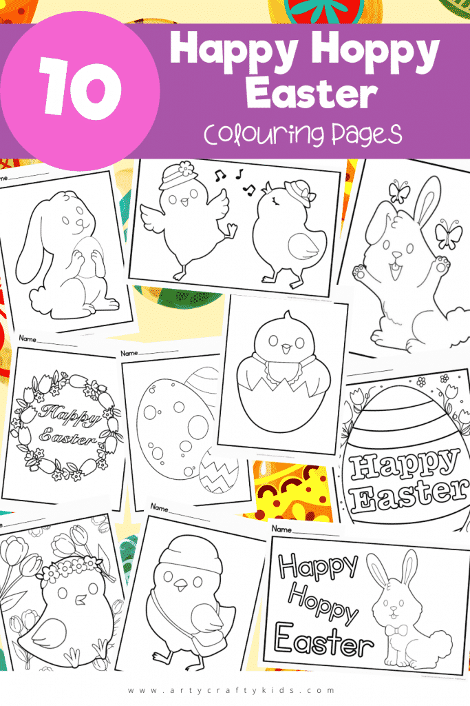 A collection of 10 fun and engaging Happy Hoppy Easter Colouring Pages for Kids. Choose from a selection of bunnies, chicks, Easter eggs and more!