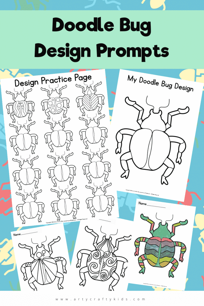 These Doodle Bug Design Prompts are a great way to get children's imagination flowing! Doodle fun designs and fill them with bold colors!