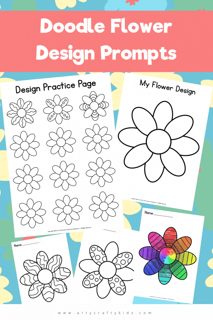 Inspire children's creativity with these fun and open-ended Doodle Flower Design Prompts. The printable pack includes a mini flower practice sheet for children to draw different patterns and doodles before completing the full sized flower; along with three completed flowers for children to color or doodle within the segments.