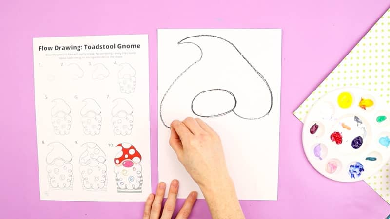 Image showing the 2nd half of the Gnome being drawn, forming the shape of a pointy hat/toadstool above the nose.